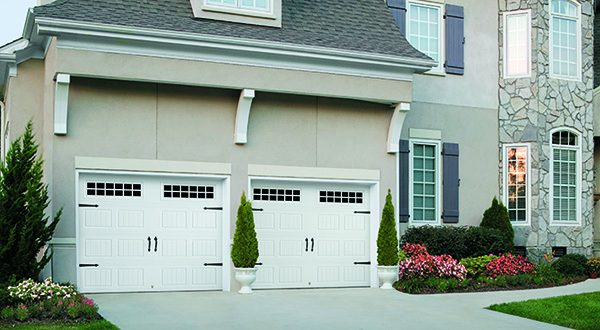 white carriage house doors