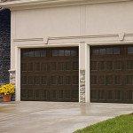 brown garage door with windows
