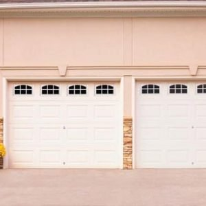 white 2 car garage door